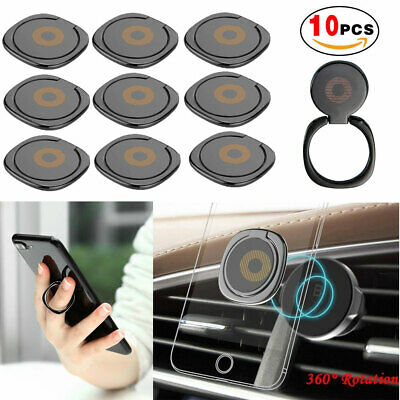 10 pcs Universal Finger Ring Stand Car Magnetic Metal Plate 360° Rotation