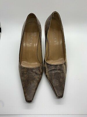 Gucci brown python leather pointed Toe Shoe