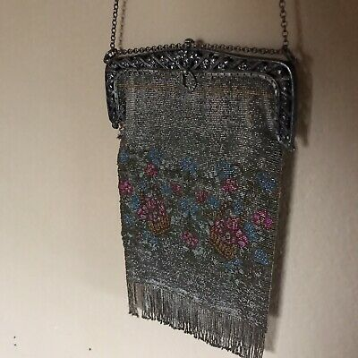 Antique Beaded Bag Micro Floral Purse w Metal Frame