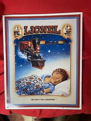 Lionel Train Tin Wall Sign Boy Sleeping Dreaming Not Just a Toy a Tradition