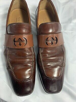 GUCCI Mens Leather Loafers 8 Brown