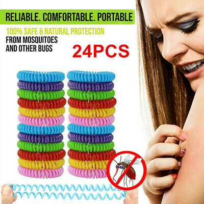 24 Pack Mosquito Repellent Bracelet Wrist Band Bug Insect Natural Protection US