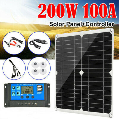 200W Solar Panel Kit 100A 12V battery Charger Controller Caravan Boat Outdoor US