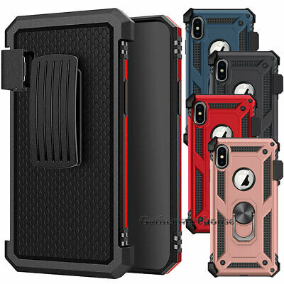 For iPhone X XR XS MAX Protective Rugged Ring Kickstand Case Cover Clip Holster