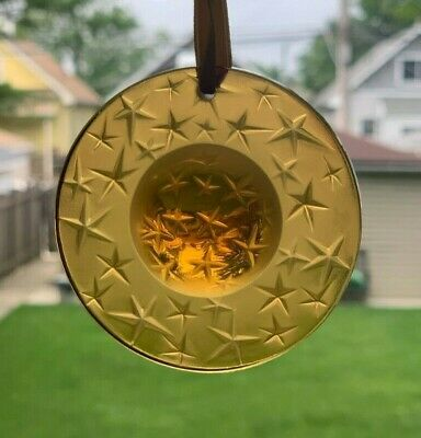 Lalique Amber Crystal Star Constellation Christmas Ornament 1995