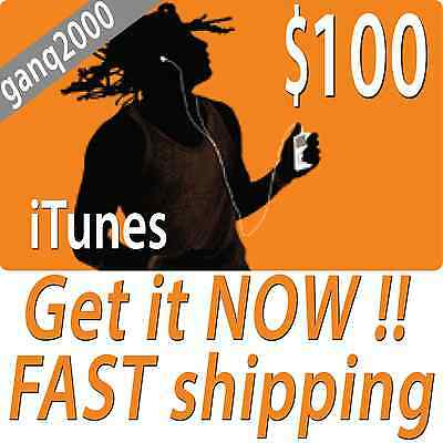 100 APPLE US iTUNES CARD gift certificate FAST FREE worldwide shipping