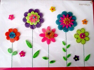 Papyrus Felt Flowers Mothers Day Greeting Card
