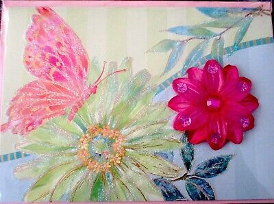 Papyrus 3D Gemmed Flower - Glitter Butterfly Happy Mothers Day Greeting Card