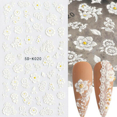 Pure White Flowers Wedding 5D Nail Stickers Embossed Decals Nail Art Decoration