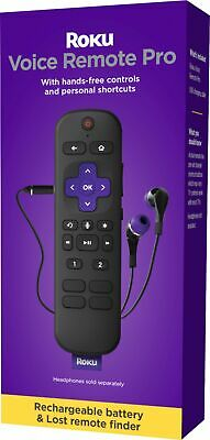 New 2021 Roku Voice Remote Pro RCS01R w Headphone Out - Rechargeable Battery