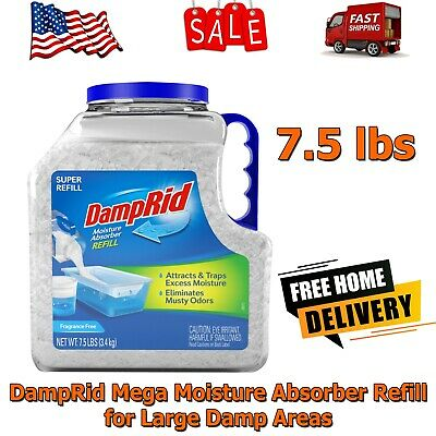 DampRid Mega Moisture Absorber Refill for Large Damp Areas 7-5 lbs- Remove Odor