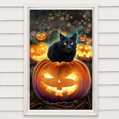 Halloween window cover scary pumpkins with black cats 30 x 48 party decor