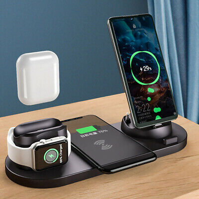 6in1 Qi Wireless Charger Dock Charging Stand For Apple Watch iPhone 12 13 Pro XS