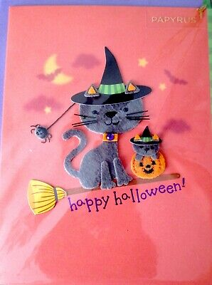 Papyrus Cat Riding a Broom Happy Halloween Greeting Card