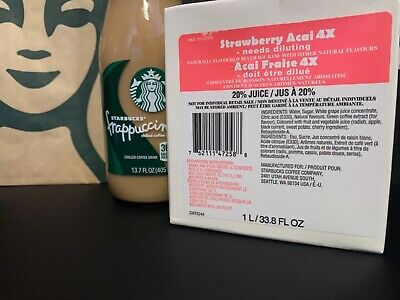 Starbucks Strawberry Acai 4X Base  NEW FORMULA USED IN STORES  Best By 0222