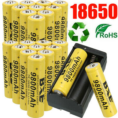 20 Battery 3-7 Li-ion Rechargeable Batteries Charger For Headlamp Flashlight -