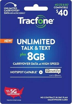 TracFone refill unlimited minutestexts 8GB data 30 for days