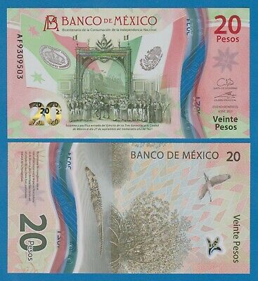 Mexico 20 Pesos P NEW 2021 UNC Polymer note