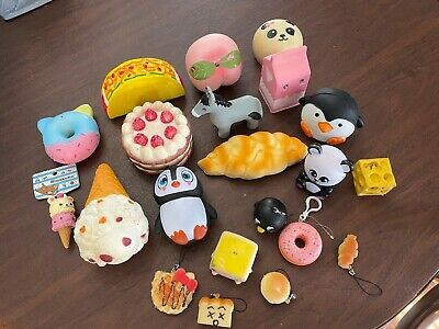 Large Lot of Squishy Toys Assorted food - Animals