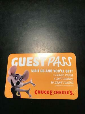 2 Chuck E Cheese's Gift Card Certificate Large Pizza 4 Drinks 30 Tokens 60Value