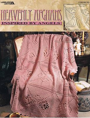 LEISURE ARTS HEAVENLY AFGHANS CROCHET BOOK 5 DESIGNS 14 PAGES