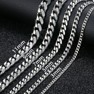 18-36 Stainless Steel Silver Tone Chain Cuban Curb Mens Necklace 357911mm
