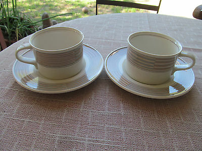 MIKASA INTAGLIO TRACINGS CAC06 2 FLAT CUPS - 2 SAUCERS