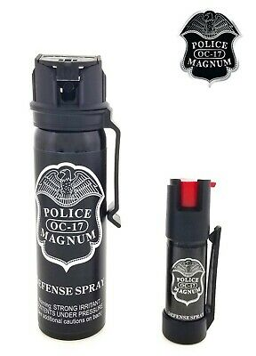 POLICE MAGNUM Pepper Spray 4 oz Ounce Safety Flip Top Belt Clip FREE 12oz Spray