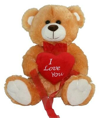NEW BROWN LOVE YOU TEDDY BEAR SOFT PLUSH VALENTINES DAY GIFT - 12 Sitting