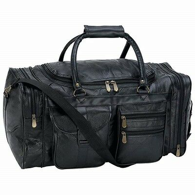 NEW 21 Black Pebble Grain Leather Duffle Tote Bag- Gym Carry On Mens Luggage