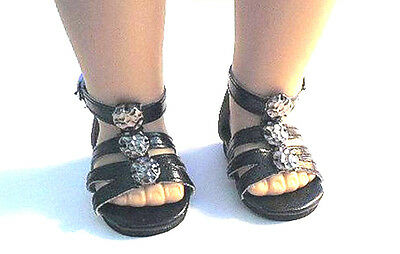 Doll Clothes 18 Sandals Black Shoes Ankle Strap Fits American Girl Dolls