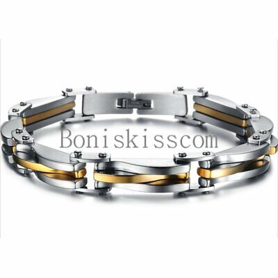 Two Tone Stainless Steel Mens Chain Link Bracelet Wristband Cuff Bangle 8-66