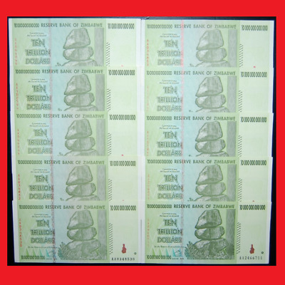 ZIMBABWE 100 TRILLION DOLLARS 10 X 10 TRILLION 2008 AA  OVER 50 IN STOCK