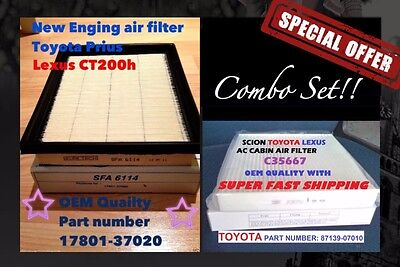 Combo set Engine - Cabin Air Filter PRIUS CT200H 17801-37020 OEM quality