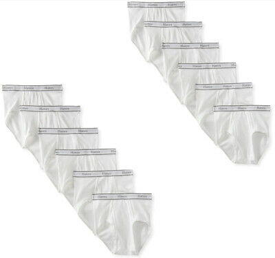 12PK HANES WHITE BRIEFS FOR MENS 100COTTON SLIGHTLY IMPERFECT
