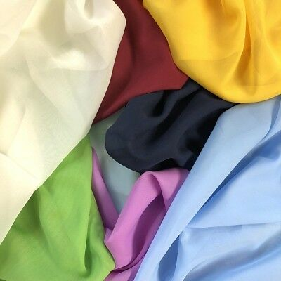 Solid Chiffon Fabric Polyester Dress Sheer 58 Wide By the Yard All Colors