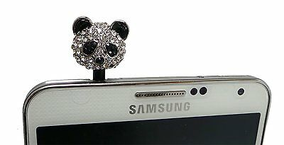 Lovely Panda Crystal Rhinestone Headset Dust Plug For iPhone 6 6S Plus 5 5S 5C 4