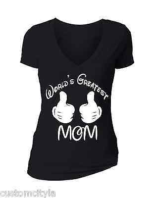 Mothers Day SALE  Worlds greatest Mom Cartoon hands V-neck T-shirt shirt tee