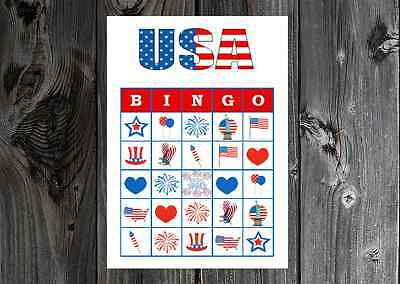 USA Fourth of July Olympics Patriotic Party Game Bingo on Card Stock 102030ct