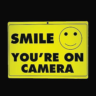 3 Three SMILE YOURE ON CAMERA Sign Security Warning Surveillance Alert CCTV