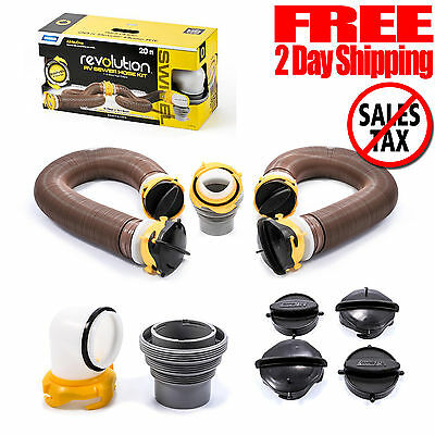Sewer Hose Kit RV Swivel Fitting Extension Camper Trailer Caravan Camco 20 Feet