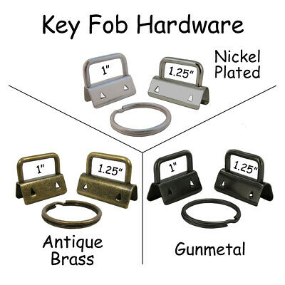 Key Fob Hardware with Key Rings - Pick Quantity Size and Finish - FREE SHIPPING