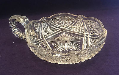 EAPG Antique Pattern Glass FANDANGO NAPPY Small Bowl wHandle Heisey