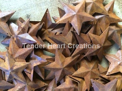Lot 100 Rusty Barn Stars 2-25 in 2 14 Primitive Country Rust Craft SHIPS FREE
