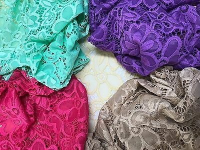 Stretch Lace Fabric Floral Embroidery Poly Spandex 58 Wide BTY Wedding Florence