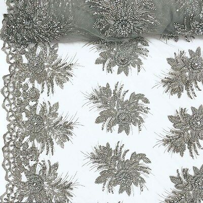 Silver Bridal Gloriosa floral Lace Sequins Beaded Scallop Fabric Dress 52 BTY