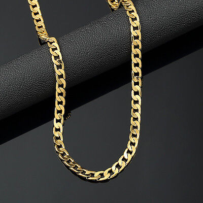 Mens 18K Yellow Gold Plated 24in Cuban Chain Necklace 4-7 MM