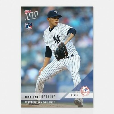 2018 Topps NOW 330 Jonathan Loaisiga MLB Yankees Debut and Win