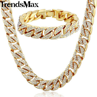 Jewelry Set Mens Yellow Gold Filled Curb Link Necklace Bracelet Chain Hip Hop