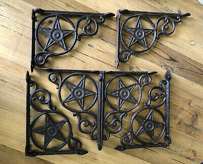 6 Cast Iron Antique Style Star Brackets Garden Braces Shelf Bracket RUSTIC FARM